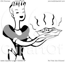 Clipart A Black And White Retro Housewife Carrying A Fresh Pie Royalty Free Vector Clipart