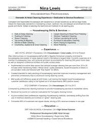 Housekeeper Resume Objective Examples Housekeeping Job Description For Resumes Photos Sample