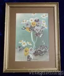 Original Print Vintage Framed Paul de Longpre Flowers on Vine