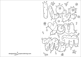 Click To See Printable Version Of I Love You Mom Card Coloring Page