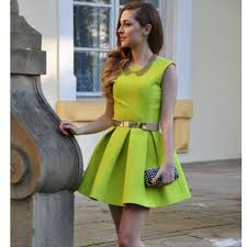 Girl Neon Green Dress 2014 Spring Sexy Backless Cute Sarafan Womens Top Fashion Clothes Summer Party Dresses Tunic Sundresses In From