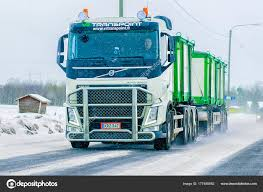 Truck In Road In Winter Rovaniemi Finland – Stock Editorial Photo ...
