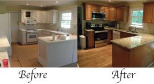 Kitchen Remodels Before And After Plain White Remodel Into Vintage With Brown Cabinets Granite Wooden Floors Add Its Beauty