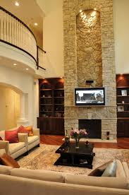 Living Room With Fireplace And Bookshelves by Interior Interesting Brick Stone Fireplace With Lcd Tv Wall And
