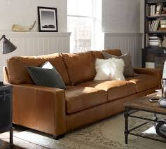 Pottery Barn Grand Sofa Dimensions by Turner Square Arm Leather Sofa Pottery Barn