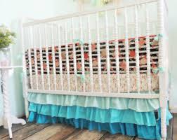 Aqua And Coral Crib Bedding by Aqua And Coral Crib Bedding With Coral Chevron Bumper And Aqua