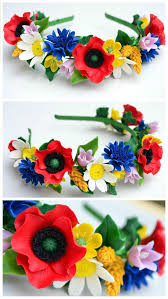 Flower Wildflowers Rustic Wedding Hair Hoop Crown Headband Headpieced Poppy Daisy Cornflower Spike Bellflower Vyshyvanka Embroidery