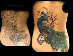 Beautiful Young Girl Lower Back Cover Up With Simple And Famous Lovely Peacock Tattoo