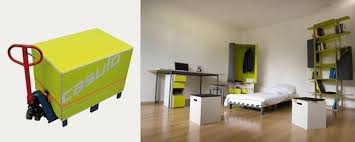 Travelbox puts an entire apartment s furniture and a bike in a