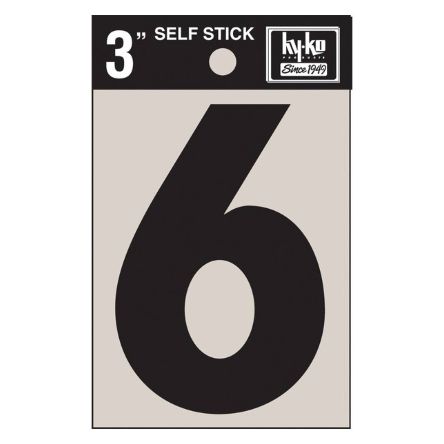 Hy Ko Products Self Adhesive Vinyl Number 6 - Black, 3""
