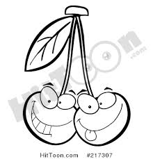 Royalty Free RF Clipart Illustration of Two Outlined Cherry Characters Making Faces