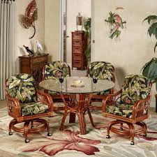 Dinette Sets With Roller Chairs by Leikela Wailea Coast Tropical Dining Furniture Set