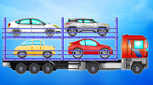 Auto Transport Truck | Learn Vehicles | Car Transporter Car Toys ...