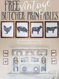 Free Kitchen Printable Four Farm Animal Butcher Prints