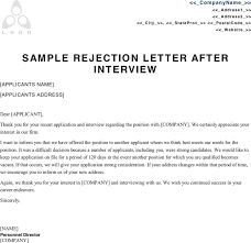 Ideas Sample Rejection Letter after Interview with Job Interview