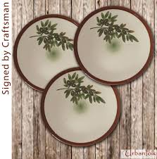 Rustic Mediterranean Country Style Handmade Ceramic Dinner Plates With Hand Painted Olives