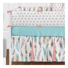 sweet jojo designs feather turquoise and coral 9 piece crib