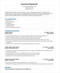 receptionist resume template 7 free word pdf document download
