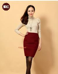 Winter Fashion Female Package Buttocks Tight Skirt Ms Candy Color