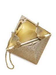 judith leiber khufu swarovski crystal pyramid clutch in metallic
