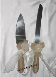 Wedding Cake Serving Set Burlap Rustic Server And Twine Knife With
