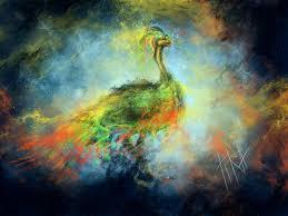 Art Birds Nebula Section Peacock Paint