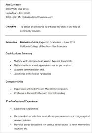 College Student Resume Template Sample For