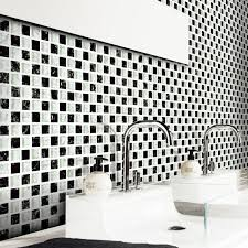 white mixed black square glass mosaic tiles crackle