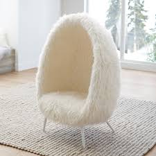 Ivory Furlicious Faux Fur Cave Chair