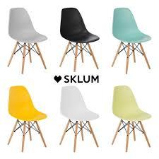 sklum scand stuhl nordic stil moderne polypropylen holz beine esszimmer büro küche mehrere farben