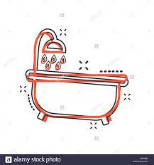 vektor badewanne symbol im comic stil badezimmer
