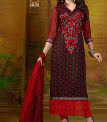 Latest New Salwar Kameez Kurti Suit Designs 2016 Indian Pakistani Red Black