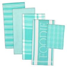 DII Cotton Foodie Kitchen Dish Towels 18 X 28 Cloth 13 Set Of 5 Ultra Absorbent Washing And Drying For Cooking Baking Aqua