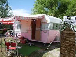 Still One Of My Faves Pink Shasta With The Striped Awning Really Vintage Campers