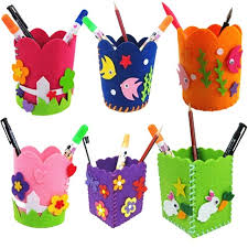 Colorful Cute Creative Handmade Pen Container DIY Pencil Holder Kids Craft Toy Kits Hand Work Training