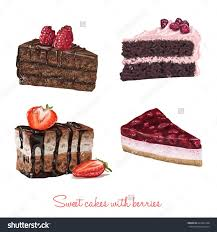 Hand drawn delicious vector cake slices currant black berries berry raspberry
