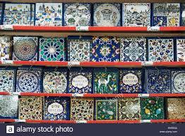 israel jerusalem city the market decorated ceramic tiles on