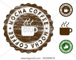 Mocha Coffee Medallion Stamp Vector Seal Print Imitation With Grunge Texture And Color