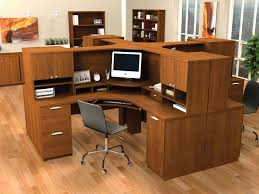 Cute Corner Desk Ideas by Rustic Light Brown Bamboo Wooden Computer Desk With Skirt And