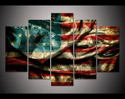 5 Panel Large Poster Printed Canvas Painting Retro American Flag Print Art Home Decor Wall Pictures For Living Room