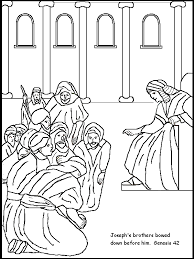Josephs Brothers Bow Before Him Bible Story Coloring Page