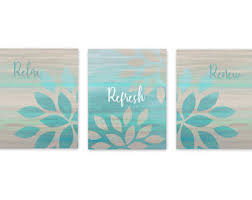 Bathroom Wall Decor Grey Teal Aqua Art
