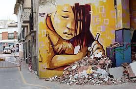 Sad Girl Painting On Wall Art Street