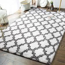 6 sizes modern soft rug sketch f728 grey white trellis