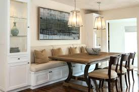 Seat Depth Banquette A Built In Is Flanked By Tall Glass Cabinets For Storing Dishes