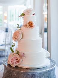Rustic Wedding Cake With Large Fresh Flowers