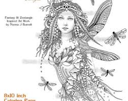 Dragonfly Fairy Tangles Adult Printable Gray Scale