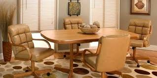 Sweet Charming Oak Dining Chairs With Casters Le With Cream Leather