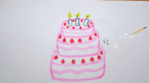 geburtstagstorte zeichnen kuchen malen how to draw a birthday cake with candles рисовать торт