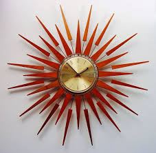 Mid Century Modern Starburst Wall Clock By Seth Thomas Starflower Design Teak Darts And Arrows Great Addition To Makeover